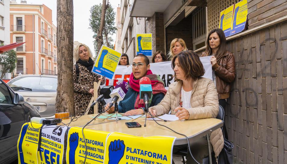 Representants de les TEEI a Tarragona durant la roda de premsa d'ahir a Tarragona.
