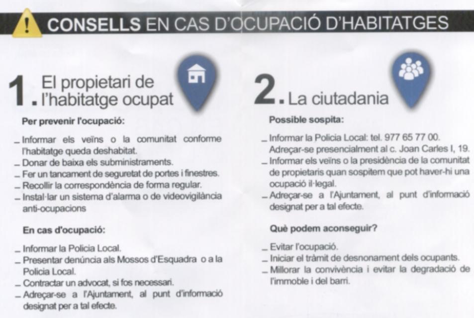 Aquest és el pamflet on es poden llegir els consells sobre què fer en cas d'ocupació.