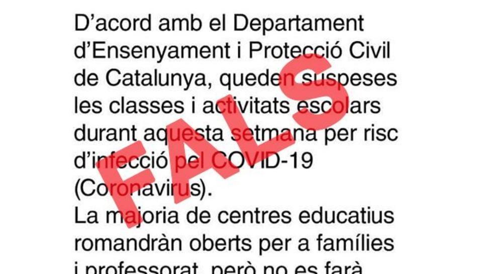 Missatge que ha denunciat Protecció Civil.
