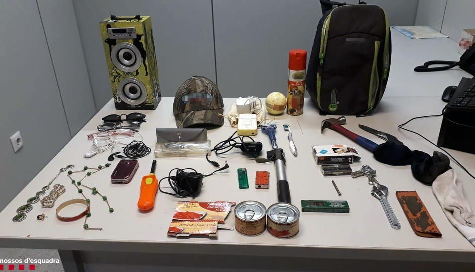 Imatge dels objectes intervinguts al detingut