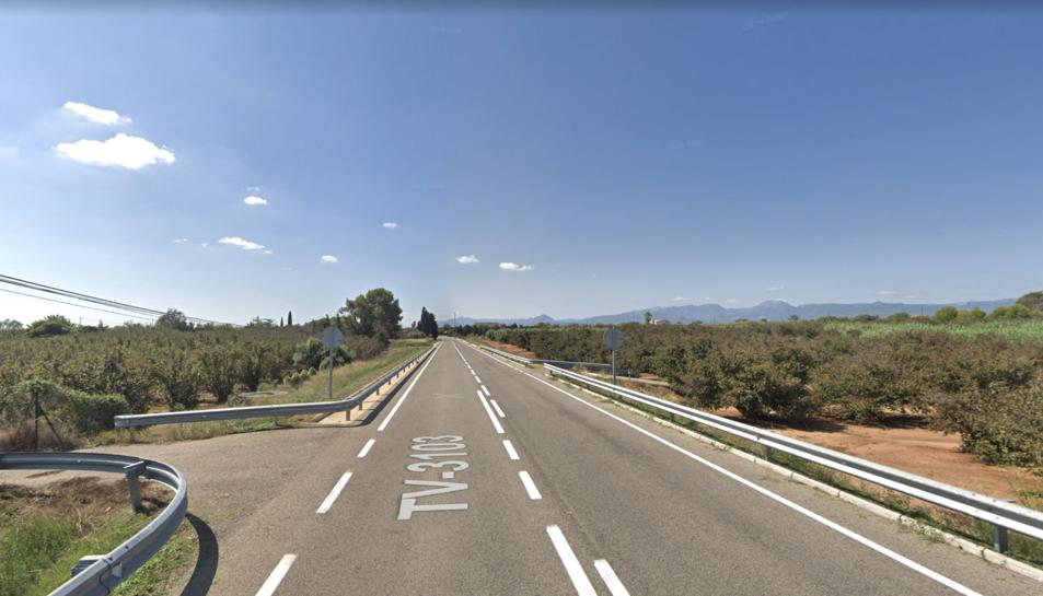 Imatge de la TV-3103 que uneix els municipis de Riudoms i Vinyols i els Arcs