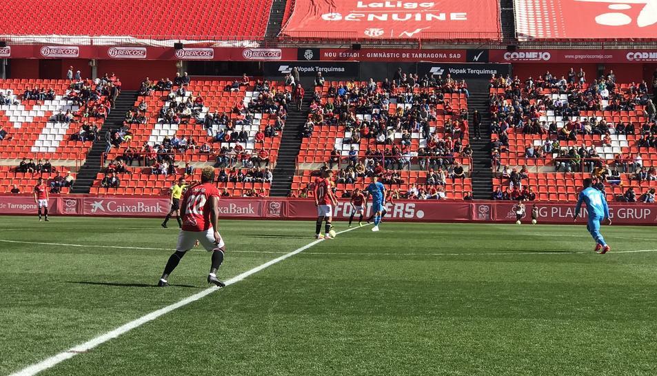 Imatge del partit d'avui entre el Nàstic i el Valencia Mestalla