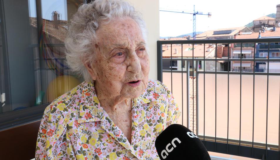 Maria Branyas, en una entrevista a l'ACN a Olot.