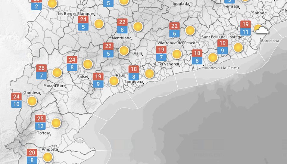 Temperatures màximes i mínimes previstes per avui.