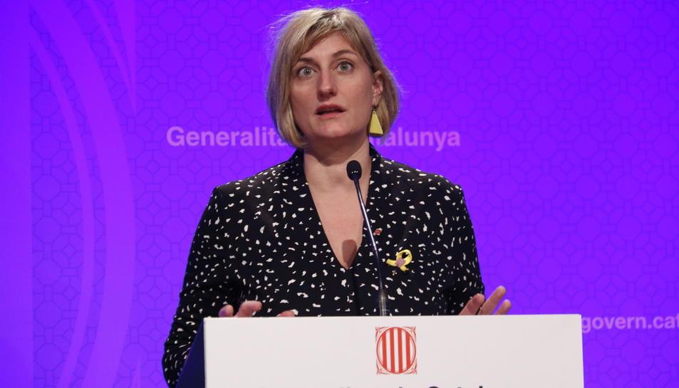 La consellera de Salut, Alba Vergés, durant una roda de premsa del 12 de març