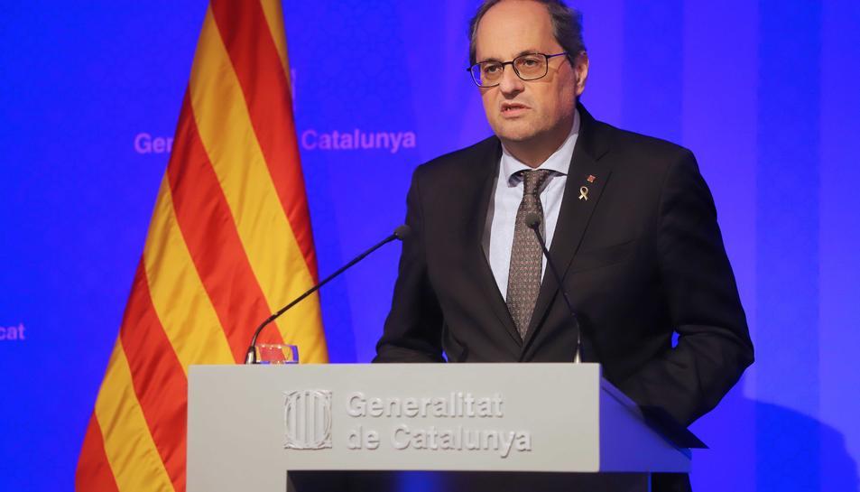 El president de la Generalitat, Quim Torra, en una compareixença de premsa.