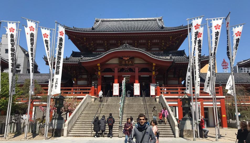 El tarragoní Roger Meseguer, en un viatge a Nagoya, durant la seva estada al Japó.