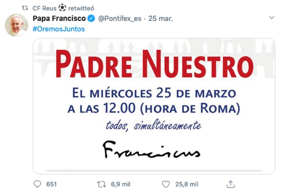 Un tuit del Papa que ha retuitat el CF Reus.