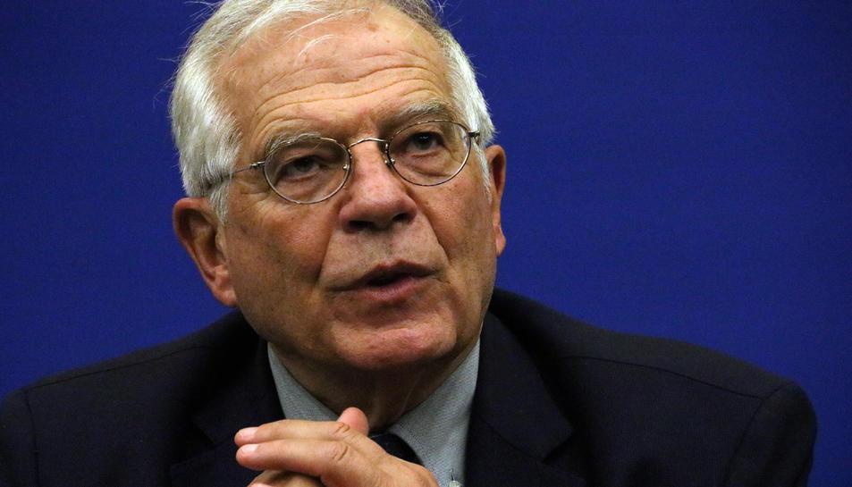 L'Alt Representant de la UE, Josep Borrell, durant una roda de premsa a Estrasburg
