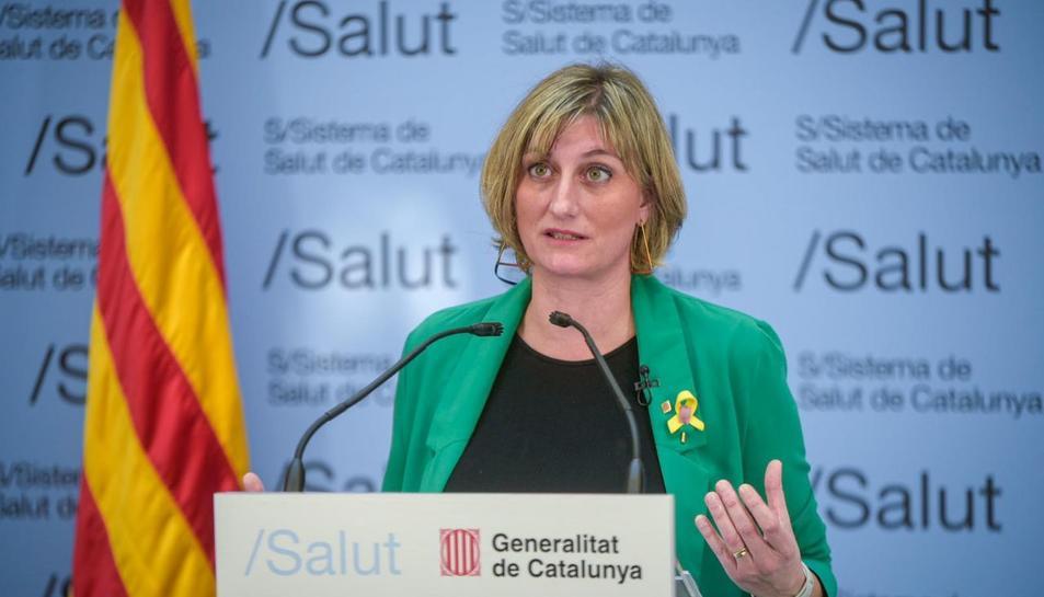 La consellera de Salut, Alba Vergés, durant la roda de premsa de seguiment de la crisi del coronavirus