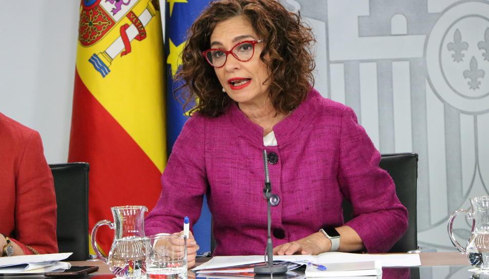 La portaveu del govern espanyol, María Jesús Montero, en roda de premsa després del Consell de Ministres
