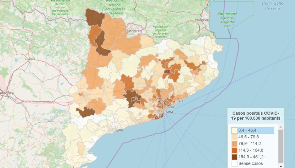 Imatge del mapa interactiu que permet conèixer els casos de Coronavirus