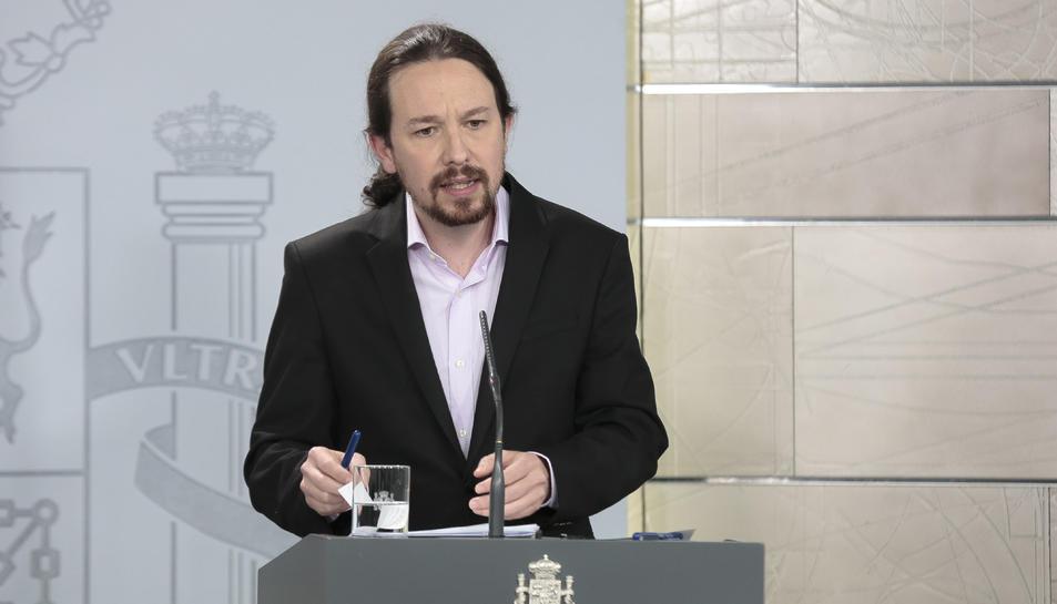 Pla mitjà del vicepresident segon del govern espanyol, Pablo Iglesias.