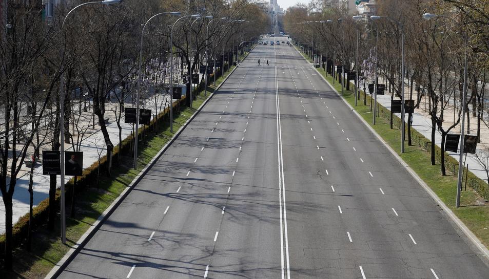 El Paseo de la Castellana, a Madrid, durant l'estat d'alarma.