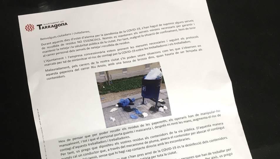 La carta que l'Ajuntament ha enviat aquesta setmana als tarragonins.