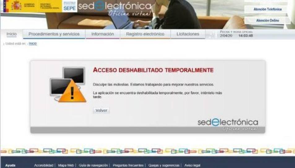 Captura de pantalla de la pàgina web del SEPE, temporalment fora de servei