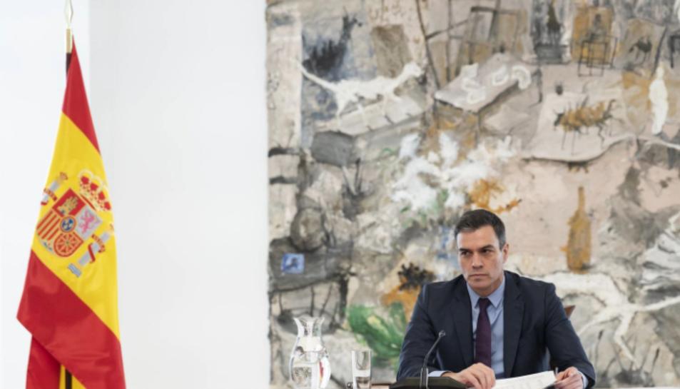 Pedro Sánchez en la reunió d'aquest dissabte