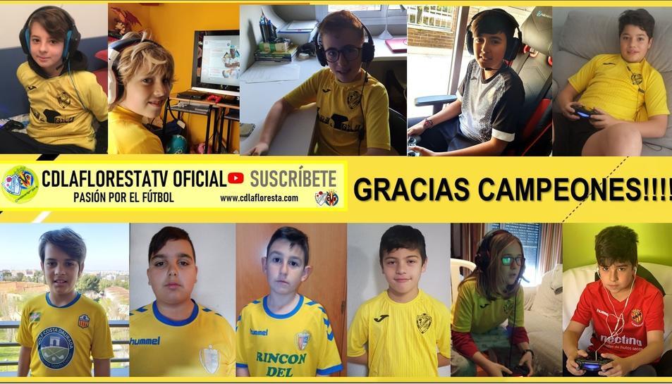 Els joves jugadors del CD La Floresta que segueixen practicant esport, però d'una altra manera.