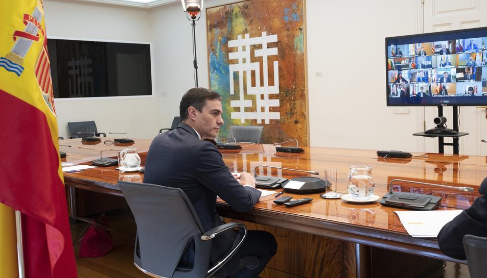 Pedro Sánchez a la reunió d'aquest matí amb els presidents de les comunitats autònomes.