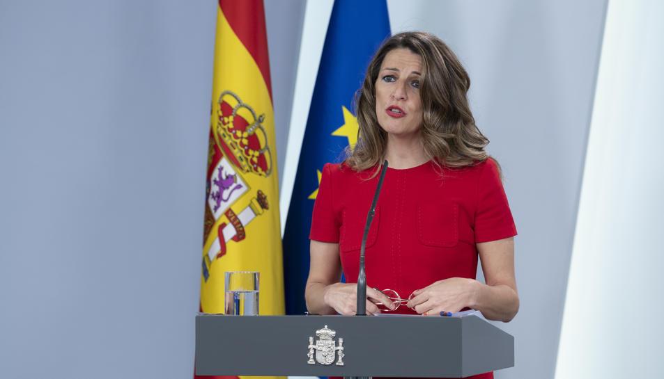 La ministra de Treball i Economia Social, Yolanda Díaz, en una roda de premsa a La Moncloa.