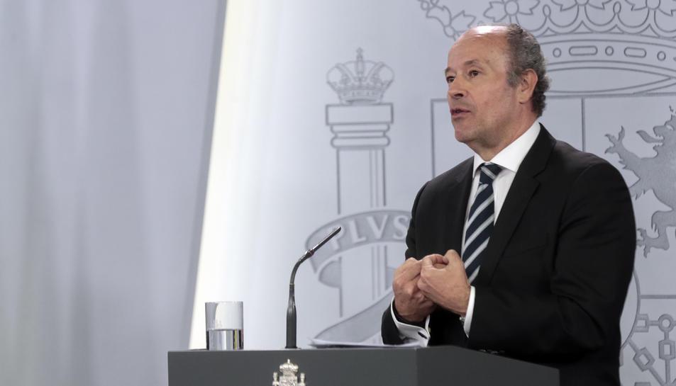 El ministre de Justícia, Juan Carlos Campo, durant la roda de premsa d'avui.