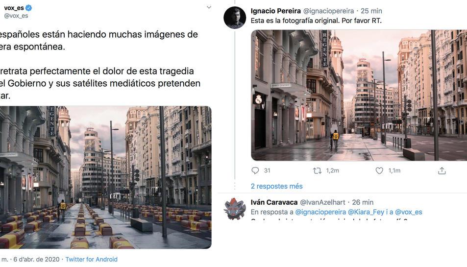 Imatge d elapiulada de VOX a l'esquerra i de l'autor de la imatge real.