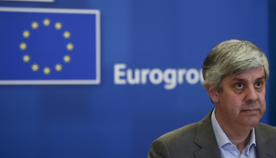 El president de l'Eurogrup, Mario Centeno, en una roda de premsa.