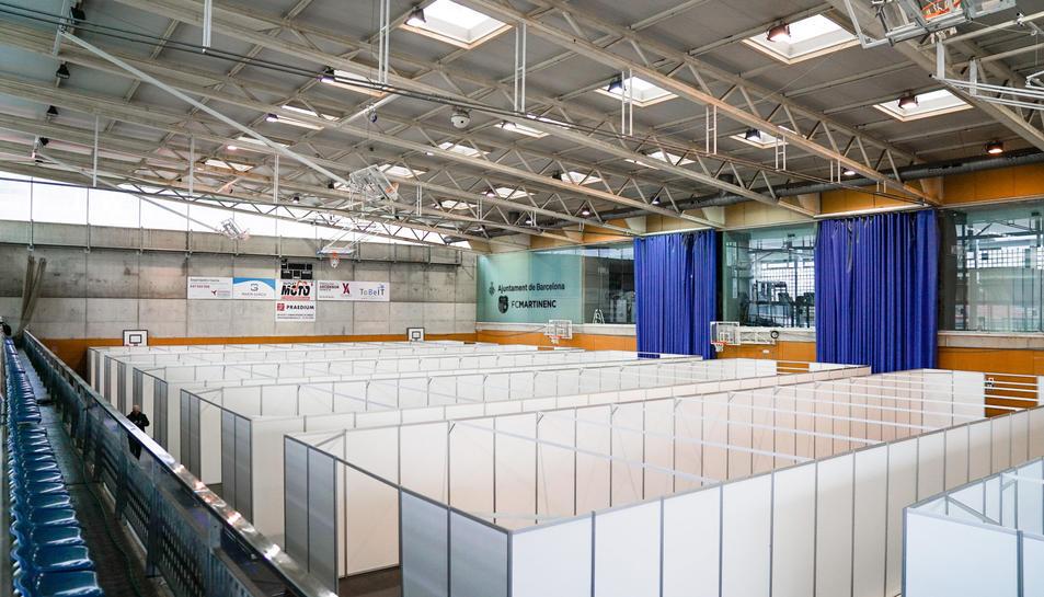 Pla general del muntatge del CEM Guinardó com a extensió de l'Hospital de Sant Pau