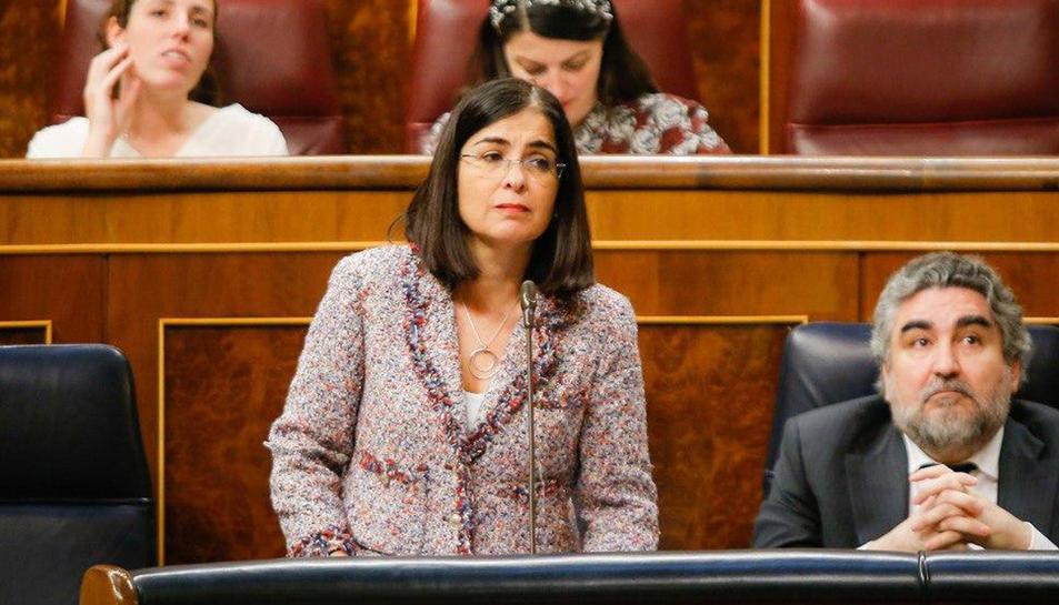 La ministra de Política Territorial, Carolina Darias, durant una sessió de control al Congrés