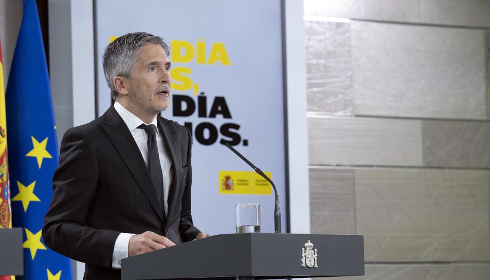 El ministre de l'Interior, Fernando Grande-Marlaska, en una roda de premsa per informar de la pandèmia de coronavirus
