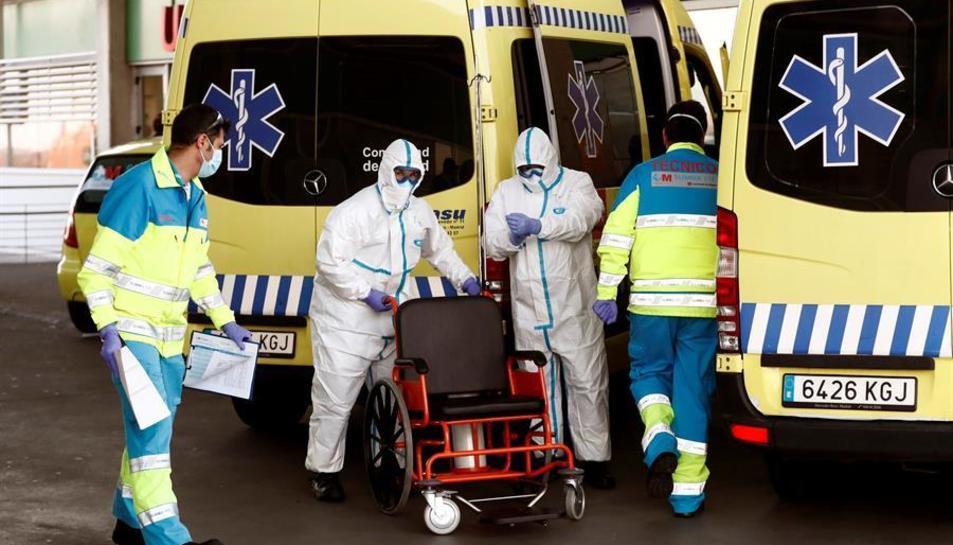 Serveis d'emergència a l'hospital Infanta Leonor, a Madrid.