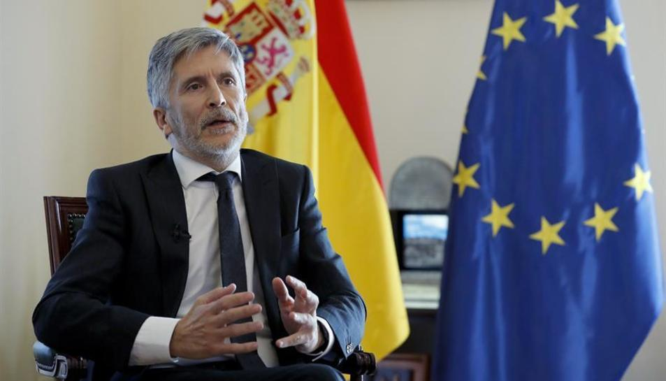 El ministre de l'Interior, Fernando Grande-Marlaska, en una entrevista amb Efe.
