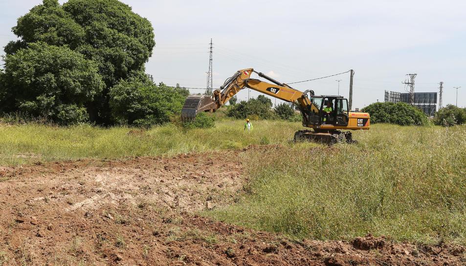 Imatge de les màquines excavadores duent a terme moviments de terra en els primers treballs d'urbanització del sector PP10.