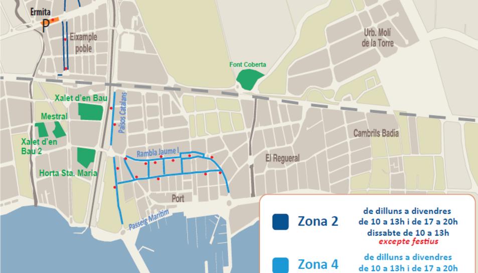 El mapa amb les zones de pagament de Cambrils.