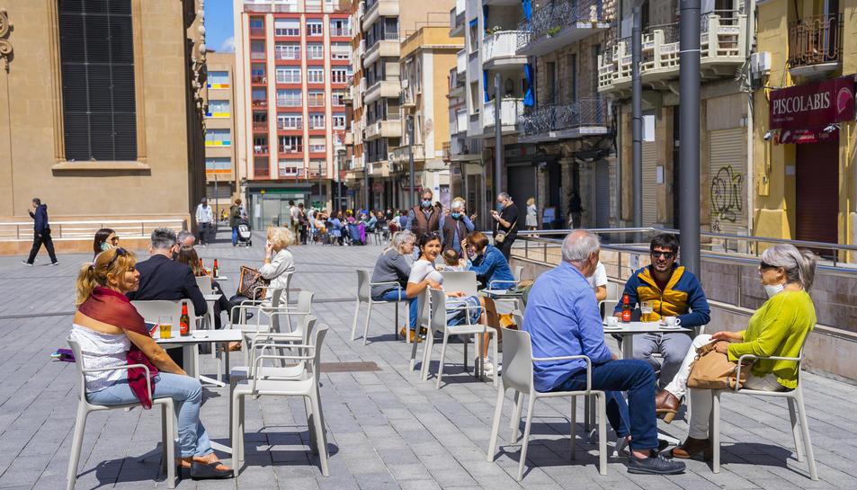 Una terrassa de Corsini el dia de la reobertura de l'11 de maig, quan Tarragona va passar a la Fase 1.