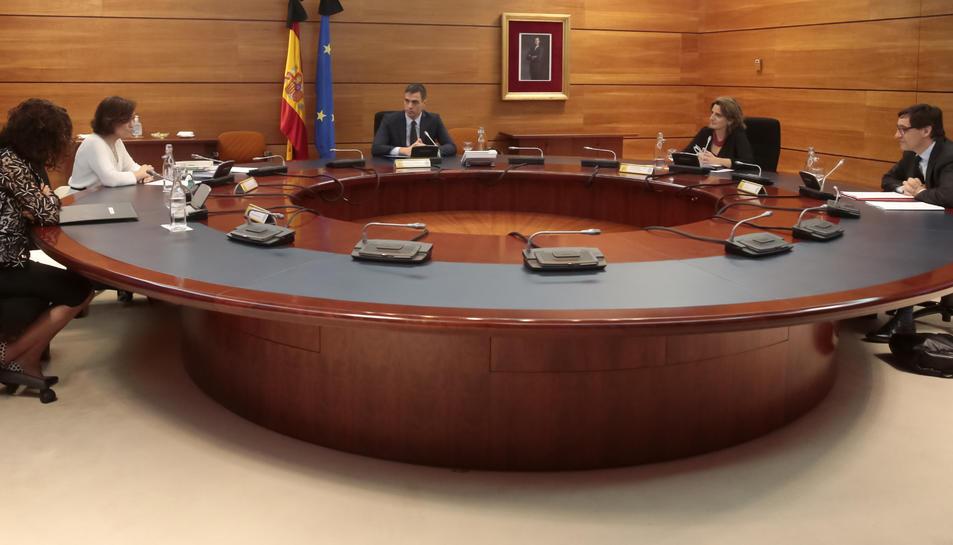 El president del govern espanyol, Pedro Sánchez, presideix el Consell de Ministres extraordinari per aprovar l'Ingrés Mínim Vital.