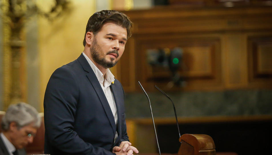 El portaveu d'ERC al Congrés, Gabriel Rufián, al ple de pròrroga de l'estat d'alarma el 22 d'abril del 2020
