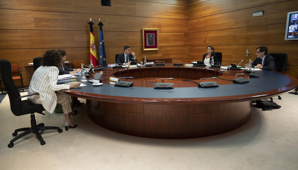 La reunió del Consell de Ministres encapçalada pel president del govern espanyol, Pedro Sánchez.