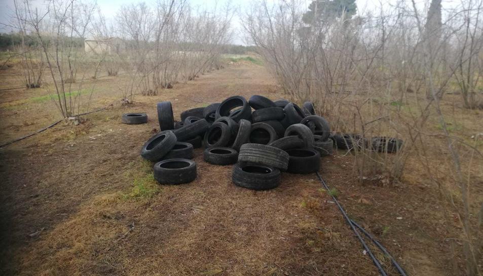 Imatge d'un abocament incontrolat de pneumàtics a una finca de Vilallonga del Camp.
