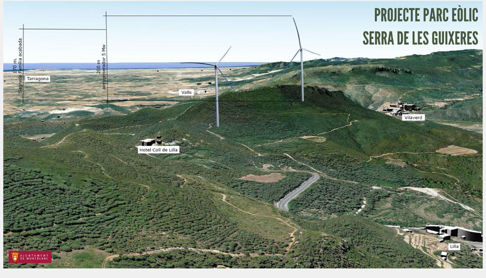Pla general d'una imatge cedida per l'Ajuntament de Montblanc on es mostra en quin punt l'avantprojecte té previst ubicar els aerogeneradors.