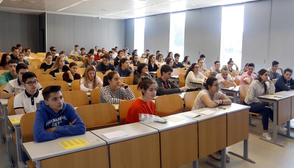 Una classe a la Facultat d'Economia i Dret de la Universitat de Lleida durant les proves de l'any passat.