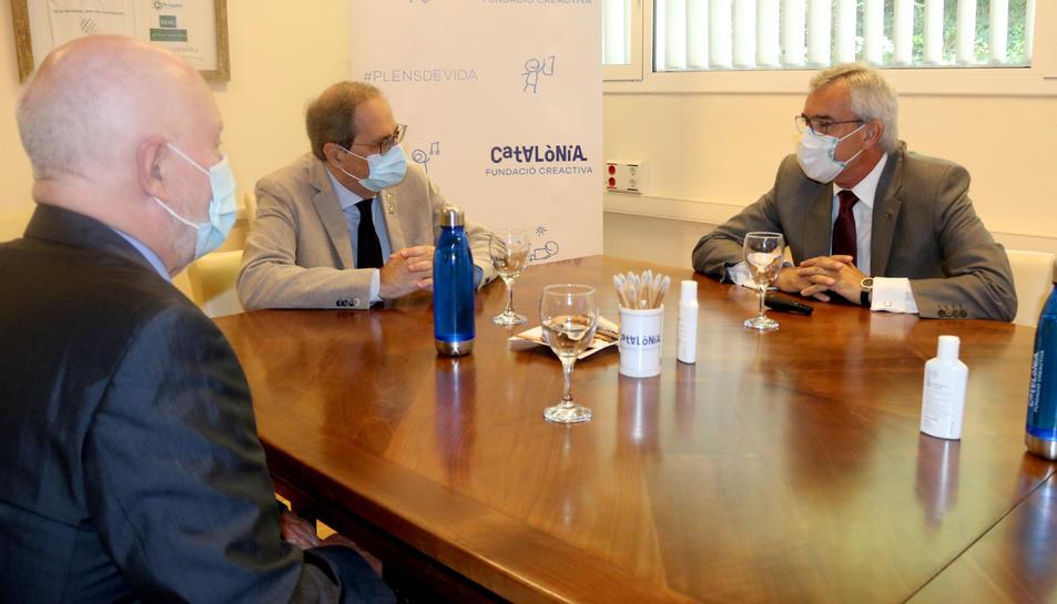 El president de la Generalitat, Quim Torra, reunit amb els responsables de la Fundació Catalònia Creactiva.