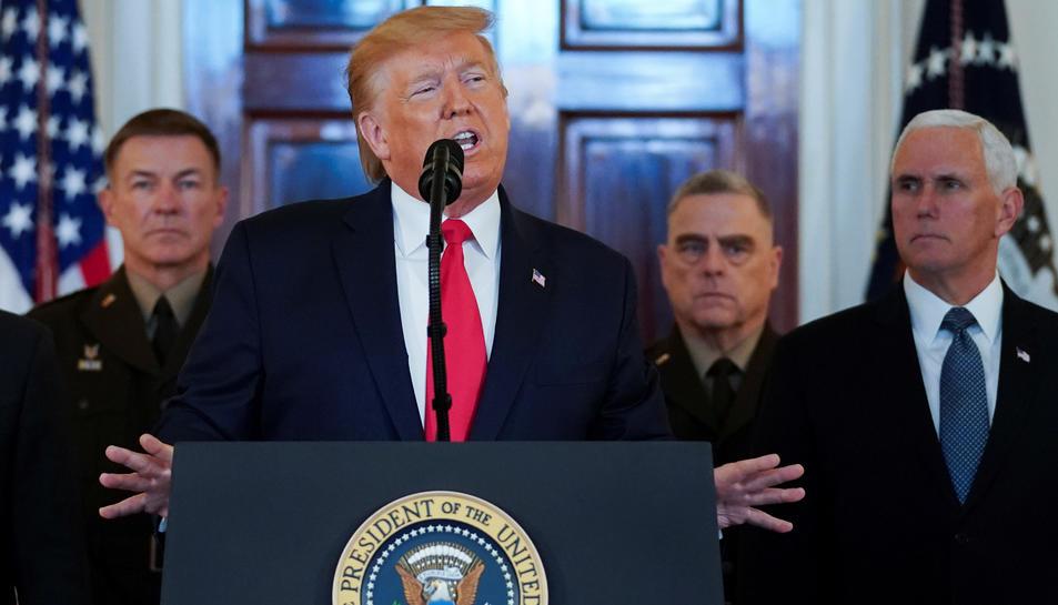 El president dels EUA, Donald Trump, durant el seu discurs sobre l'Iran el 8 de gener del 2020.