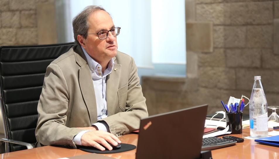 Imatge del president de la Generalitat, Quim Torra, encapçala
