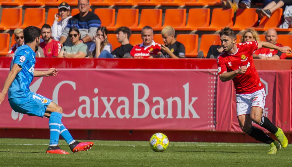 Carbia en el partit al Nou Estadi contra el València Mestalla.