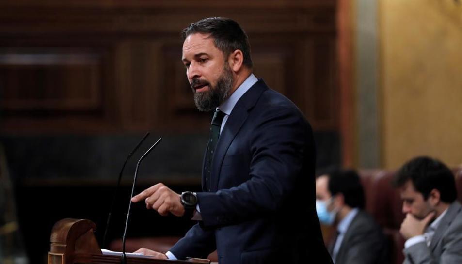 El líder de Vox, Santiago Abascal, durant la seva intervenció al ple del Congrés.