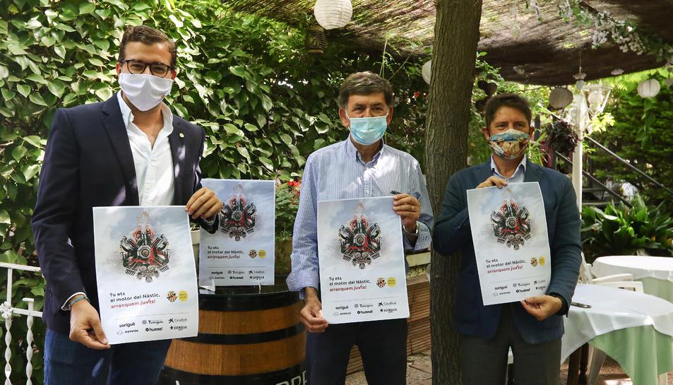 José Maria Andreu Solé, Josep Maria Andreu i Lluís Fábregas presentant la nova campanya d'abonats.