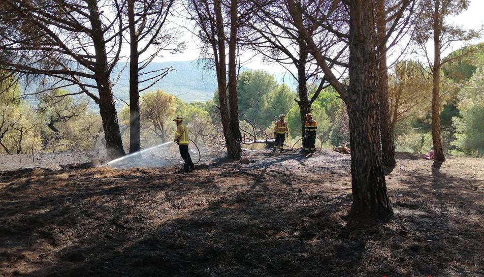 Un grup de Bombers apagant l'incendi d'avui a Alforja
