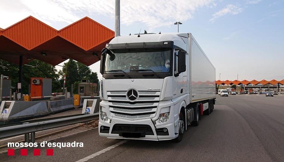 Imatge del camió, que estava fent el viatge de reotrn a Turquia.