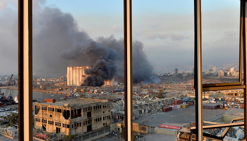 Imatge de la zona portuària poc després de l'explosió de dimarts.
